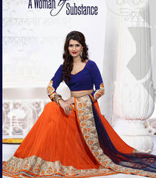 Blue Embroidery Soft Net  lehenga-choli shop online