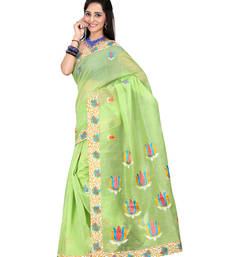 Buy Light green embroidered cotton saree with blouse cotton-saree online