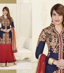 Buy Blue and Red embroidered net semi stitched salwar with dupatta wedding-salwar-kameez online