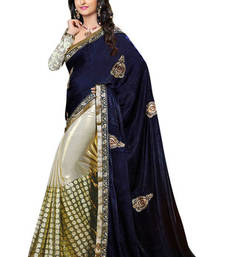 Buy blue  and  offwhite hand_woven georgette saree with blouse velvet-saree online