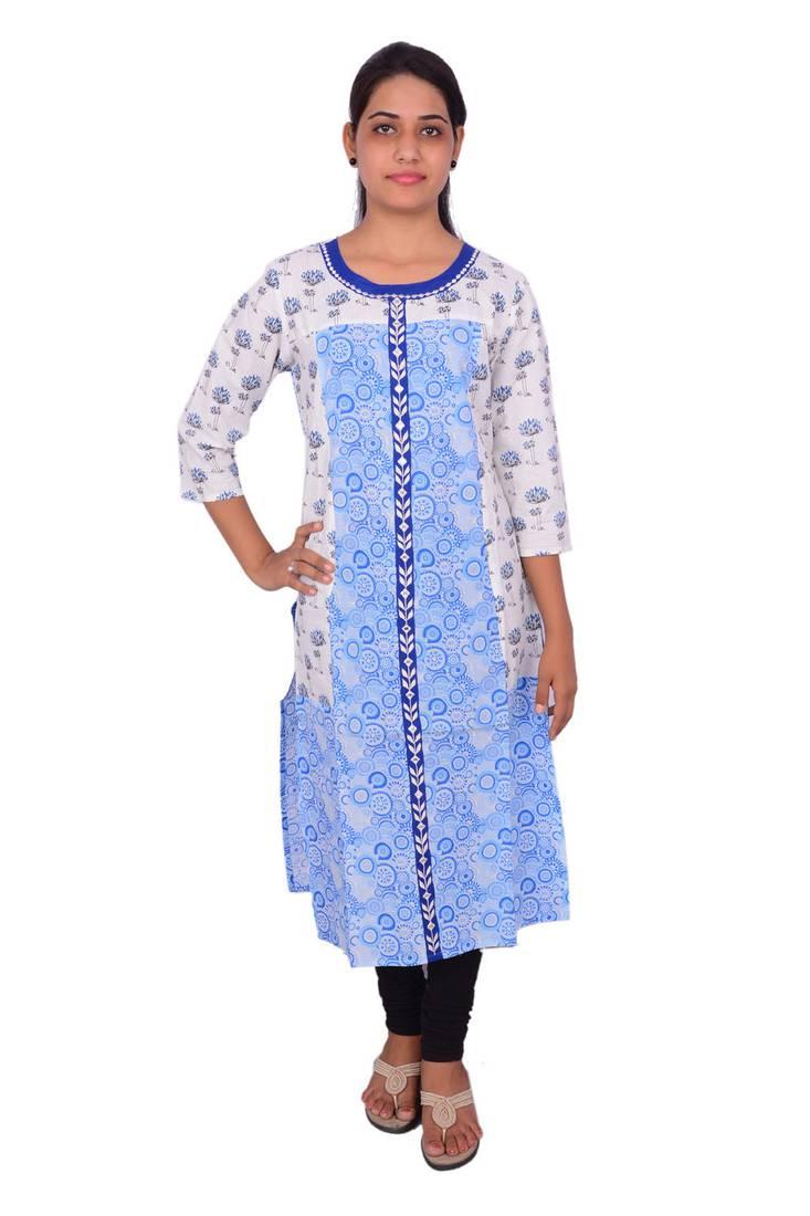 Buy Blue Embroidered Cotton Kurtasandkurtis Online