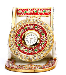 Buy Two-in-One Mobile Holder and Clock made with pure white marble and handpainted motifs. home-decor online