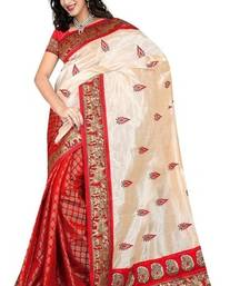 Buy Cream and Red embroidered art_silk saree with blouse art-silk-saree online