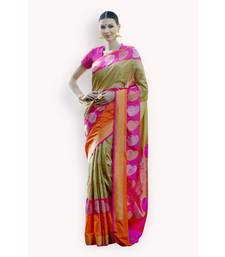 Buy Beige woven silk saree with blouse banarasi-silk-saree online