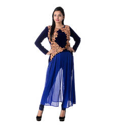 Buy Blue Embroidered Georgette Kurti kurtas-and-kurti online