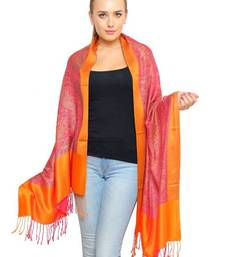 Buy Uniscarf Orange border floral print shawl shawl online