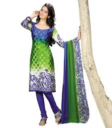 Buy Fabdeal Green Colored Crepe Jacquard Party Wear Printed Dress Material  dress-material online