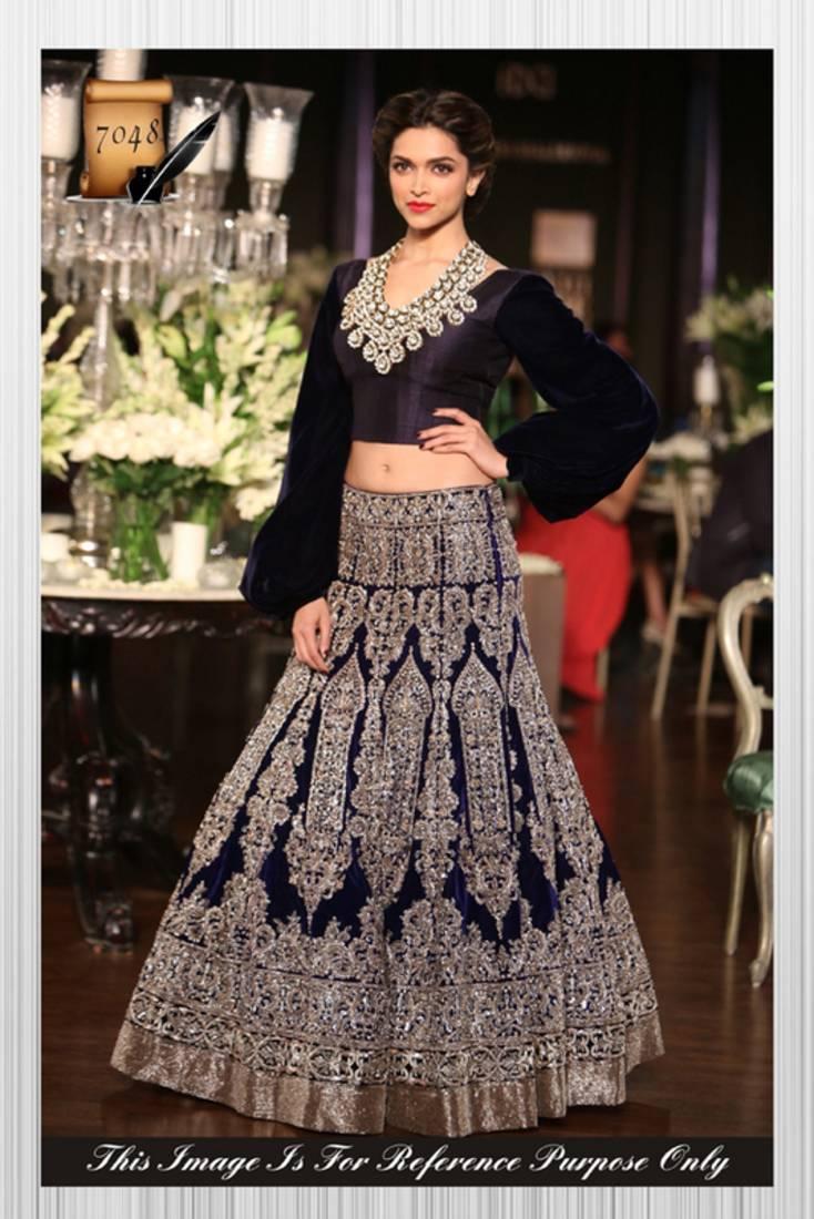 Buy Deepika Padukone Designer Blue Moss Velvet Lehenga ...