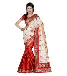 Buy red Printed bhagalpuri-silk saree with blouse and lace work and light embroidery work bhagalpuri-silk-saree online