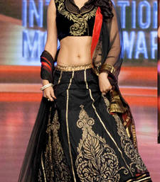 Buy Designer Black Georgette Embroidered Lehenga bollywood-lehenga online