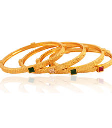 Buy Spectacular Gold plated American Diamond Bangle bangles-and-bracelet online