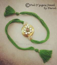 Buy Send Rakhi online - GREEN Jewel with soft thread - Pdz R-12 express-rakhi online