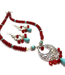 Buy Red & Turquoise Agate Necklace & Earring necklace-set online