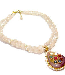 Buy Light Pink Agate Necklace gemstone-necklace online