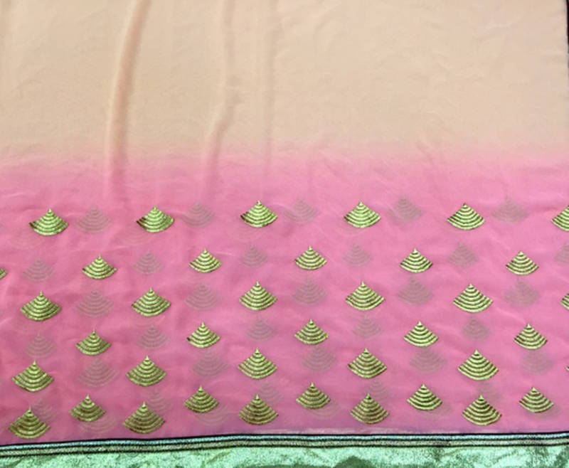 Buy Pink Embroidered Georgette Saree With Blouse Online
