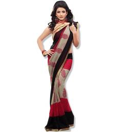 Buy Fabdeal black & Red Colored chiffon saree with unstitched blouse georgette-saree online