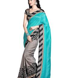 Buy Blue printed bhagalpuri-silk-saree with blouses saree with blouse bhagalpuri-silk-saree online