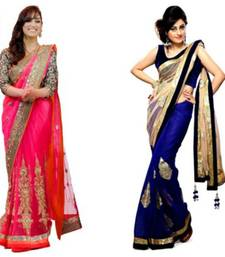 Buy blue and pink embroidered net saree with blouse party-wear-saree online