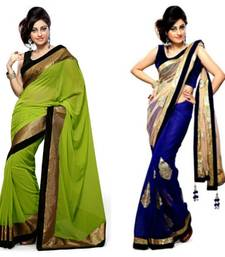 Buy blue and green embroidered georgette saree with blouse sarees-combo-sari online
