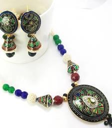 Buy Meenakari Designer Pendant Necklace Black Blue Green 4 Necklace online