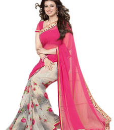 Buy Pink and white printed georgette saree with blouse printed-saree online