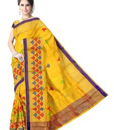 Buy Yellow Handwoven Pure Silk Chanderi Saree with Blouse chanderi-saree online