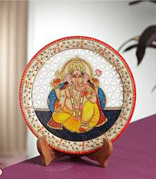 Buy Carved GANAPATI painted Marble Plate  decorative-plate online