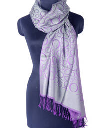 Buy Hand-made Glacier Gray and Royal Lilac Coloured 100% Silk Shawl shawl online