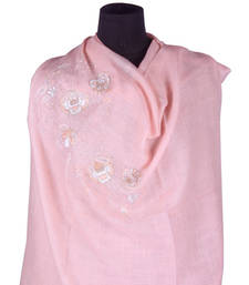 Buy Hand-made Apricot Coloured 100% Pure Pashmina Shawl shawl online