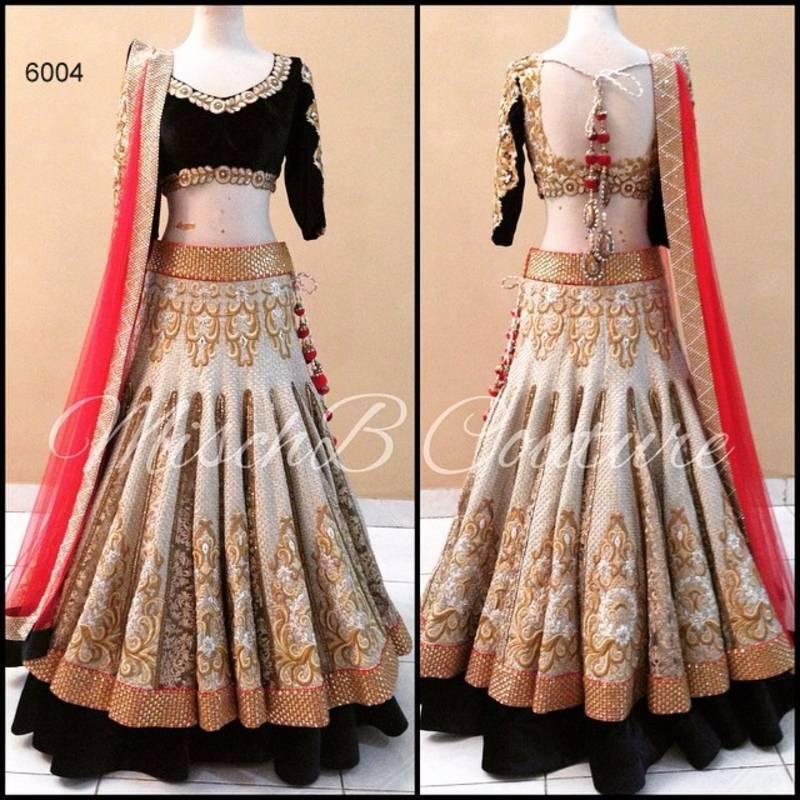 Buy Off white brocade bridal lehenga with velvet blouse Online
