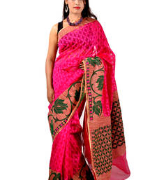 Buy Pink woven net saree with blouse net-saree online
