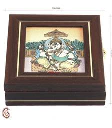 Buy Siddhi Vinayak Precious Stone Inlay Work Gem Box jewellery-box online