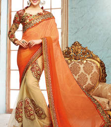 Buy Orange  and  Cream embroidered georgette saree with blouse party-wear-saree online
