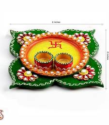 Buy Clover Leaf design wood and clay work Pooja Thali - Diwali decoration ideas diya online
