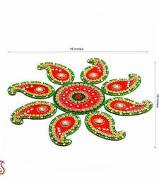 Buy Red and Green Handmade Wood Clay Floral Floor Art { Rangoli } black-friday-deal-sale online