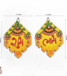 Buy Diwali gifts offer Clay and Wood Shubh Labh Wall Art Hanging other-home-accessory online