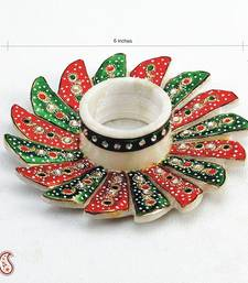 Buy Green and Red Marble Candle Holder studded with Kundans candle online