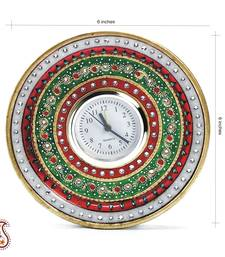 Buy White Marble Clock with Kundan and Meenakari work wall-clock online