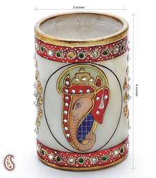 Buy Ganpati Motif pure White Marble Pen Holder with Kundan work stationery online
