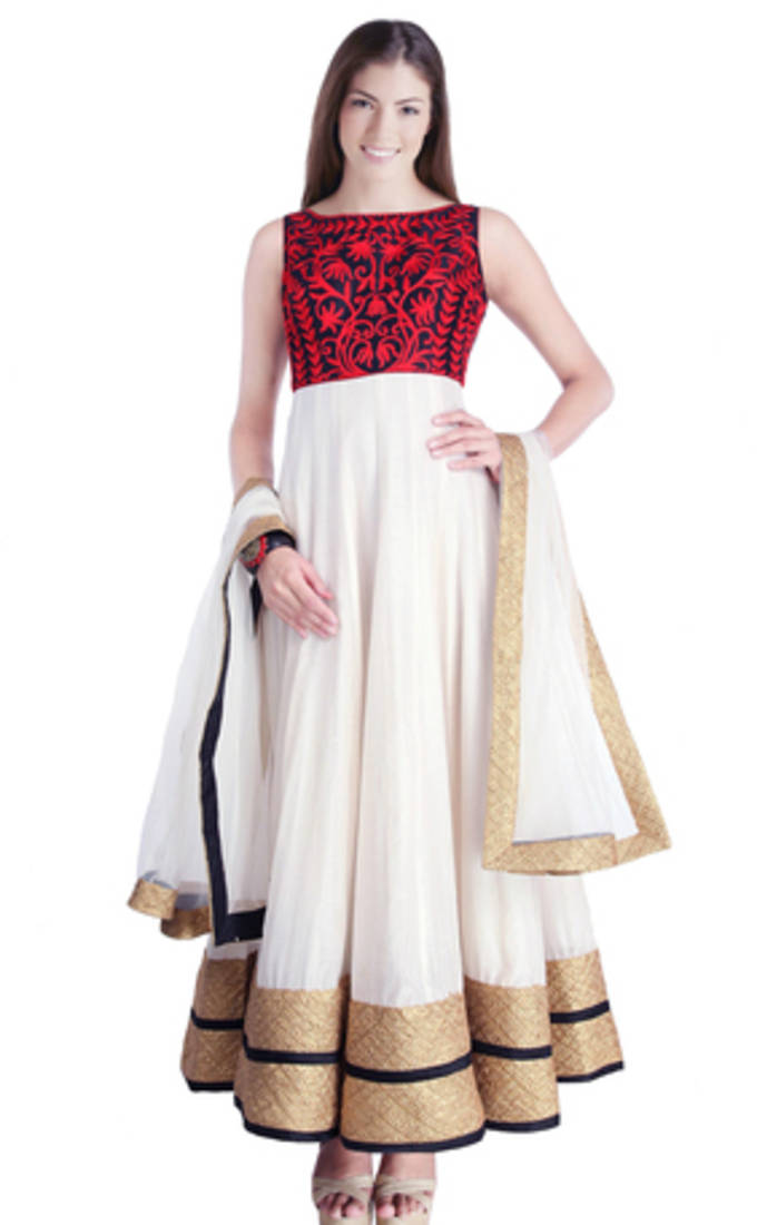 Buy White Color Hand Embroidered Readymade Anarkali