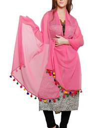 Buy Pink Georgette Duppata with Multicolor Pom Pom Border stole-and-dupatta online