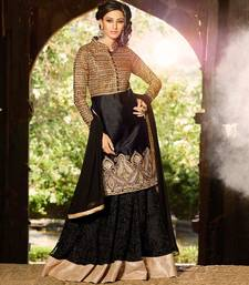 Buy Black and Golden embroidered art silk semi stitched salwar with dupatta collar-neck-design online