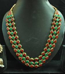Buy Maroon & Green Colour Necklace set with Meenakari Jhumkaa Earrings necklace-set online