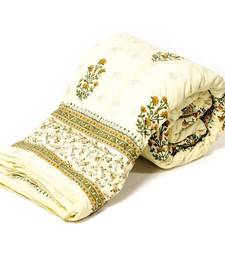 Buy White Base Hand Block Printed Cotton Double Quilt Deepawali Special Gift 320 razai online