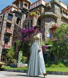 Buy Beautiful Soft Net Hand Embroidered Grey Coloured Wedding Traditional Gowns party-wear-gown online