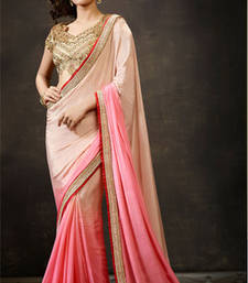 Buy Cream and Pink embroidered georgette saree with blouse heavy-work-saree online