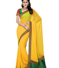 Buy Yellow Color Faux Chiffon Saree with Blouse party-wear-saree online