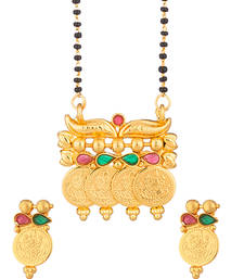 Buy Single String Mangalsutra With the Images of Goddess Lakshmi and Encrustations of Red mangalsutra online