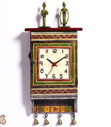 Buy Diwali Gifts Beautiful Green Dhokra Art Wall Clock cum Key Holder housewarming-gift online