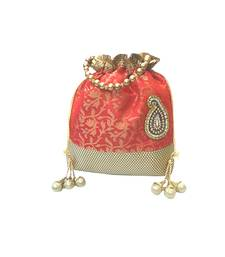 Buy Brocade Batwa with Paisley Motif (Red) potli-bag online